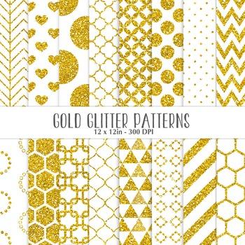Gold Glitter Geometrical Patterns - Digital Background