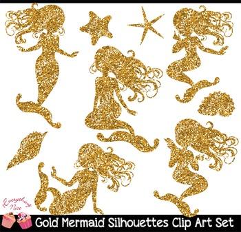 Gold Glitter Mermaid Silhouettes Clipart Set