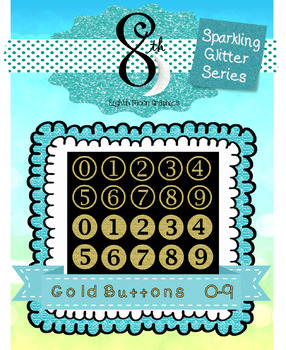 Gold Glitter Number Buttons 0-9