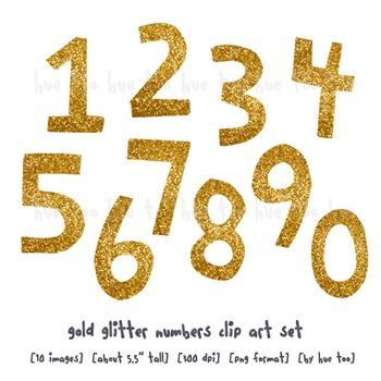 Gold Glitter Numbers Clip Art, Digital Glitter Clip Art, for TpT Sellers