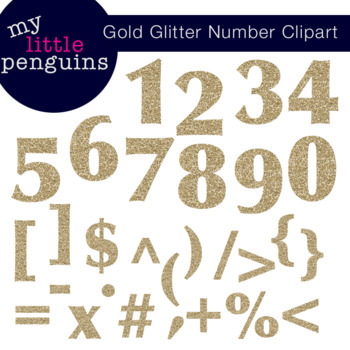 Gold Glitter Numbers and Symbols (math)