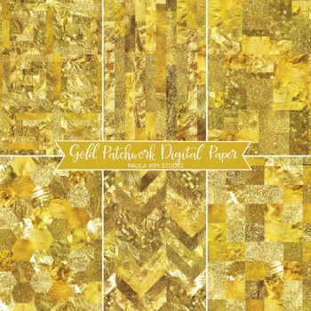 Gold Glitter Patchwork Backgrounds