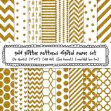 Gold Glitter Patterns Digital Paper Set, Chevrons, Stripes, Dots for TpT Sellers