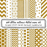 Gold Glitter Patterns Digital Paper Set, Chevrons, Stripes
