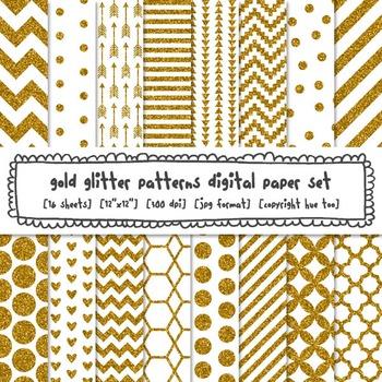 Gold Glitter Patterns Digital Paper Set, Chevrons, Stripes