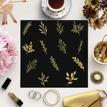 Gold Glitter Plants Clip Art, Floral Ornaments