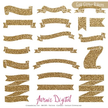 Gold Glitter Ribbon Banners clip art - Golden ribbons clipart, frame, labels