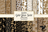 Gold Glitter Safari Digital Paper and seamless patterns