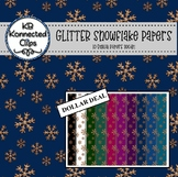 Gold Glitter Snowflake Papers - 10 Colors Jewel Tones - Dollar Deal!