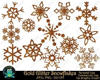 Gold Glitter Snowflakes {Upzaz Digital Clipart}