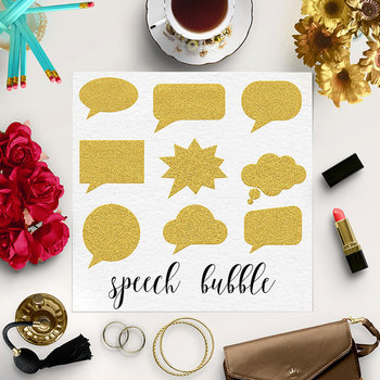 Gold Glitter Speech Bubbles, Bubble Clipart