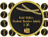 Gold Glitter- Student Number Labels