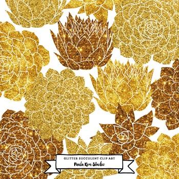 Gold Glitter Succulent Flower Clip Art