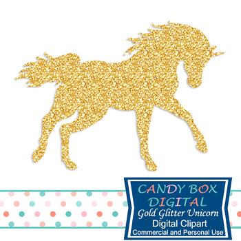 Gold Glitter Unicorn Clip Art - Commercial Use OK