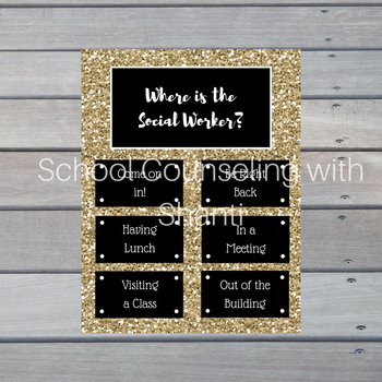 Gold Glitter Where is the social worker? Not Editable