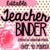 Gold Glitter and Floral Teacher Binder