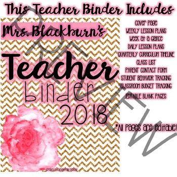 Gold Glitter and Floral Teacher Binder