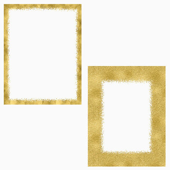 Gold Hand Painted Photo Frames, Gold Foil And Glitter Borders