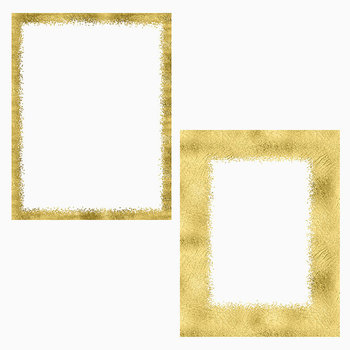 Gold Hand Painted Photo Frames, Gold Foil And Glitter Borders, Photo Overlays