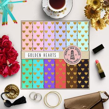 Gold Heart Digital Paper, Heart Patterns, Love Backgrounds