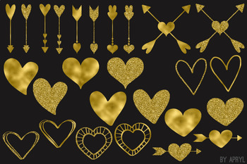 Gold Hearts Valentine's Day Clip Art 74 PNG Glitter Foil Arrows Strands Swags