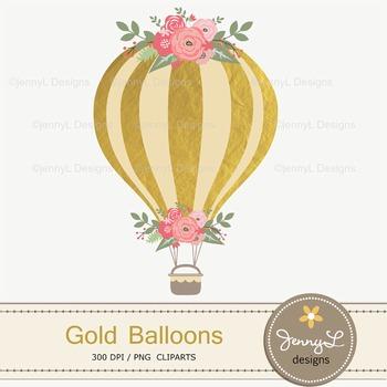 Gold Hot Air Balloon clipart