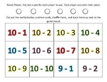 Gold Hunt!  Subtraction Board Game