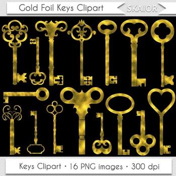 Gold Keys Clipart Steampunk Clip Art Vintage Golden Foil Keys Clip Art Scrapbook