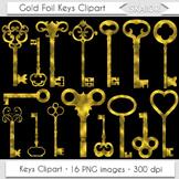 Gold Keys Clipart Steampunk Clip Art Vintage Golden Foil K