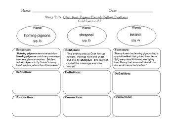Gold LLI Vocabulary Sheets Level Q