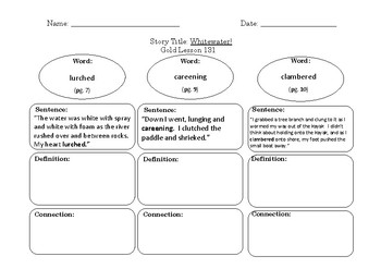 Gold LLI Vocabulary Sheets Level S