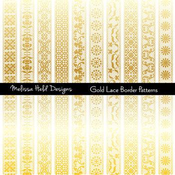 Lace digital. Gold border patterns clipart