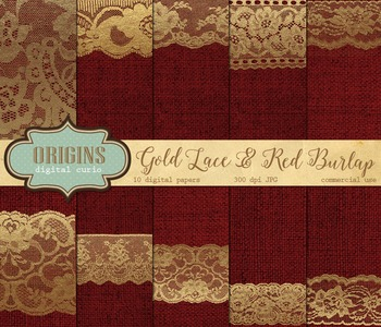 Gold Lace and Red Burlap Digital Paper Backgrounds Textures