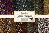 Gold Leopard digital paper, cheetah print patterns, animal
