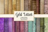 Gold Letters Digital Paper, vintage antique old letters ba