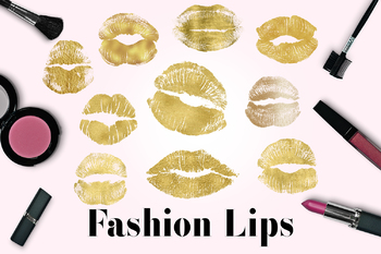 Gold Lips Clipart, Kissing Lips, Gold Lipstick Marks, Lips Images