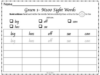 Gold M100 Sight Words Revision and Colouring Worksheets