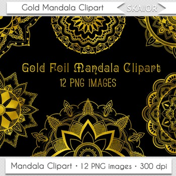 Gold Mandala Clipart Digital Flowers Clip Art Henna Coloring Page Lace Doily
