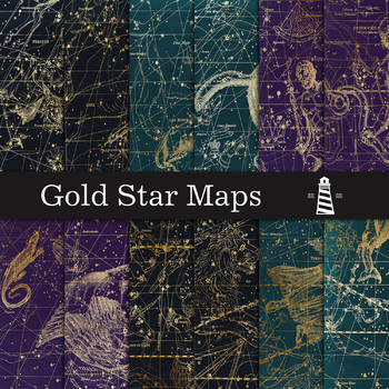 Gold Maps Digital Paper, Gold Star Map Backgrounds, Astronomy Papers