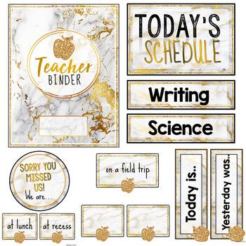 Gold Marble Classroom Decor (Editable)