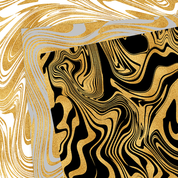 Gold Marbling Digital Paper - Black, White and Gold Backgrounds
