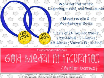 Gold Medal Articulation: Winter games  {freebie}