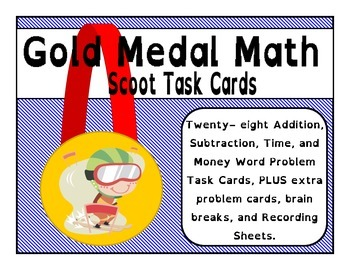 Gold Medal Math Task Cards - Addition Subtraction Time & Money -Winter Olympics