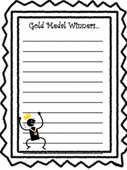 Olympics Gold Medal craft and writing