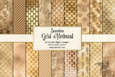 Gold Mermaid Digital Paper, seamless scale patterns, backgrounds