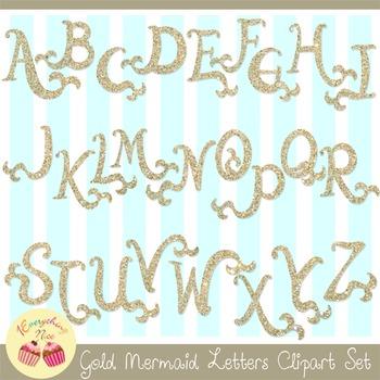 Gold Mermaid Letters Clipart Set