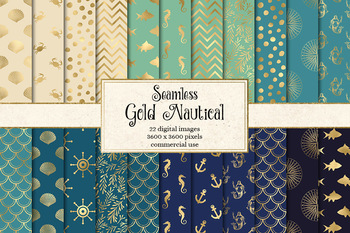 Gold Nautical Digital Paper, seamless ocean patterns