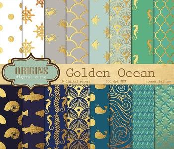 Gold Nautical Ocean Backgrounds Digital Paper