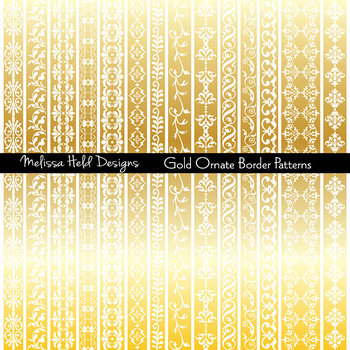 Clipart: Gold Ornate Border Patterns Clip Art