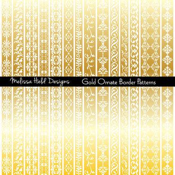Gold Ornate Border Patterns Clipart